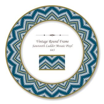 Винтажная круглая ретро рамка, пилообразная лестница, мозаика, пиксельная геометрия, волна, античный стиль