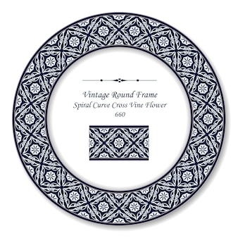 Винтажная круглая ретро рамка спиральная кривая крест лозы цветок, античный стиль