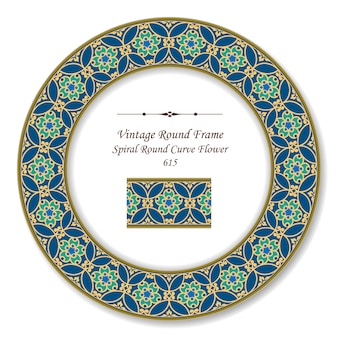 Винтажная круглая ретро рамка спиральная круглая кривая цветок, античный стиль