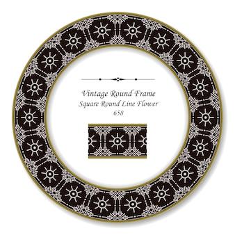 Винтажная круглая ретро рамка квадратная круглая линия цветок, античный стиль