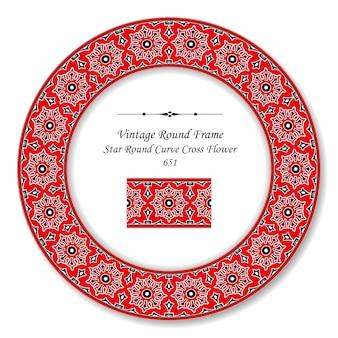 Винтажная круглая ретро рамка звезда круглая кривая крест цветок, античный стиль