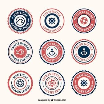 Vintage badge nautiche arrotondati