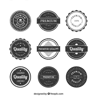 Vintage rounded premium quality badge collection in grunge style