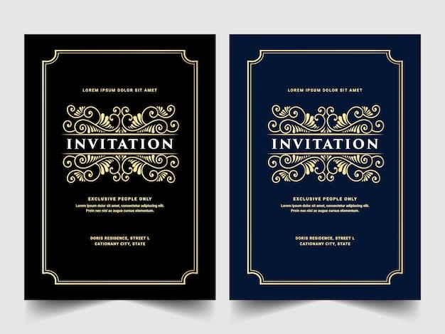 Винтажный королевский и роскошный набор пригласительных билетов на годовщину свадьбы, день рождения, празднование, цветочный вихрь, орнамент, декоративный шаблон карты