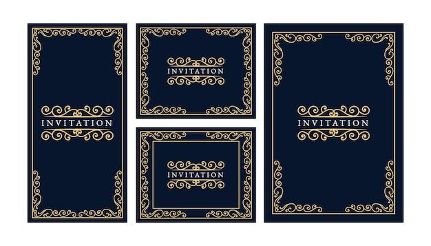 꽃 소용돌이 장식으로 초대 카드의 빈티지 왕실과 고급 세트