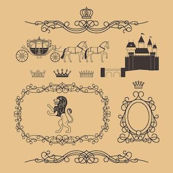 선 스타일의 빈티지 왕실 요소와 공주 장식 요소. 왕관, 공주 성, 왕실 사자가 있는 빈티지 로열티 프레임. 벡터 일러스트 레이 션