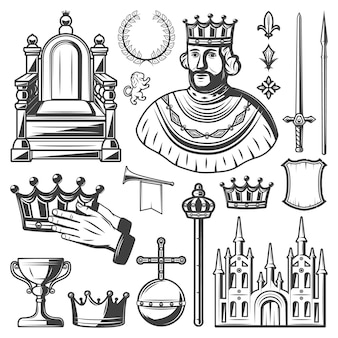 Vintage royal elements set with king throne laurel wreath sword lance crown trumpet monarchy orb castle shield scepter cup isolated