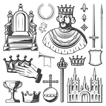 Vintage elementi reali impostati con re trono corona di alloro spada lancia corona tromba monarchia orb castello scudo scettro tazza isolato