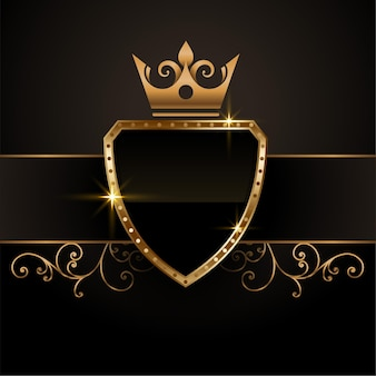 Vintage royal golden crown shield empty symbol in king style
