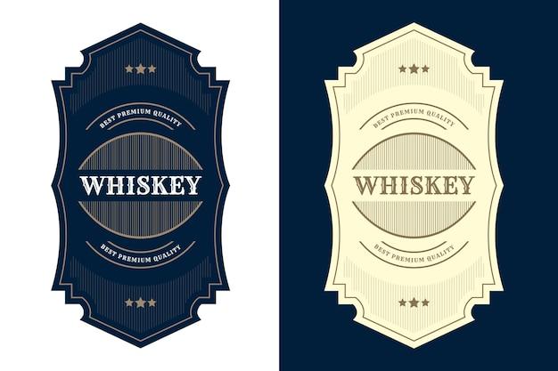 ビールウイスキーアルコールと飲み物のボトルラベルのヴィンテージロイヤルラグジュアリーフレームロゴラベル