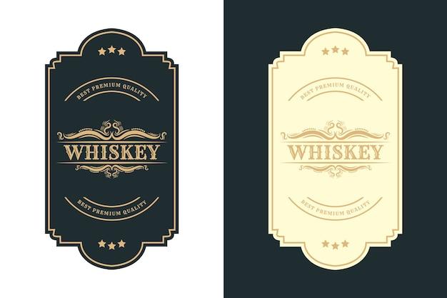 Старинные королевские роскошные рамки с логотипом для пива, виски, алкоголя и этикеток для бутылок