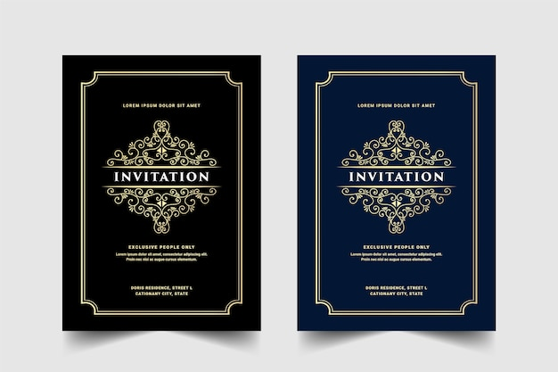 Vintage royal and luxury set of invitation card for wedding anniversary birthday party celebration floral swirl ornamental decorative card template