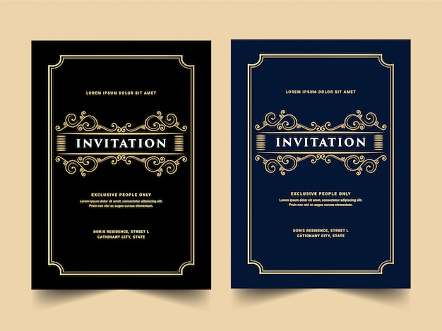 Vintage royal and luxury set of invitation card for wedding anniversary