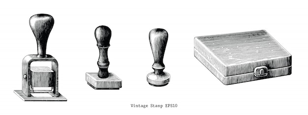 Vintage rubber stamp hand draw isolated on white background