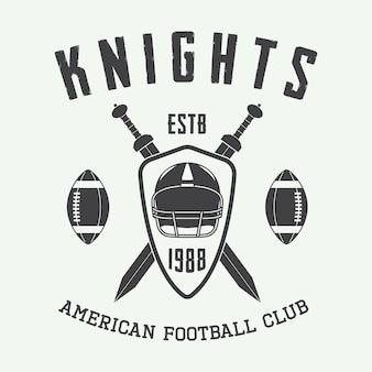 ヴィンテージラグビーとアメリカンフットボールのラベル、エンブレムまたはロゴ。ベクトルイラスト