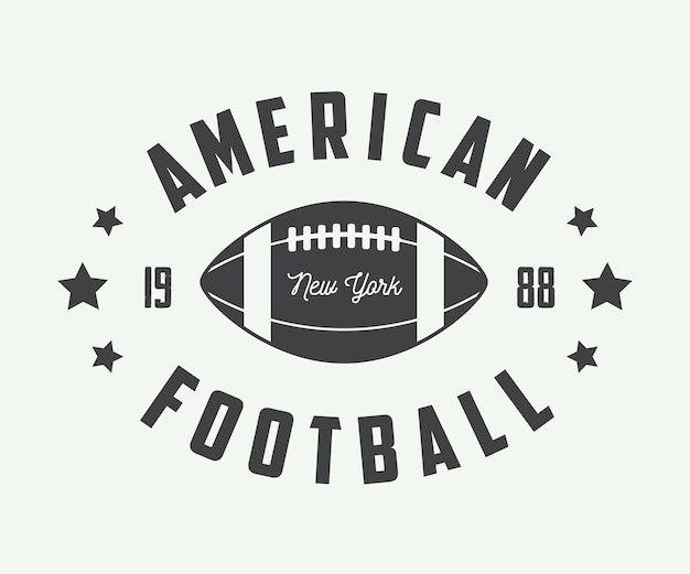 ヴィンテージのラグビーとアメリカンフットボールのラベル、エンブレム、ロゴ。ベクトルイラスト