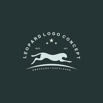 Vintage run leopard logo vector illustration