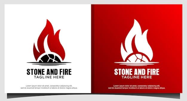 石と火のロゴとヴィンテージ素朴なコーヒー焙煎業者