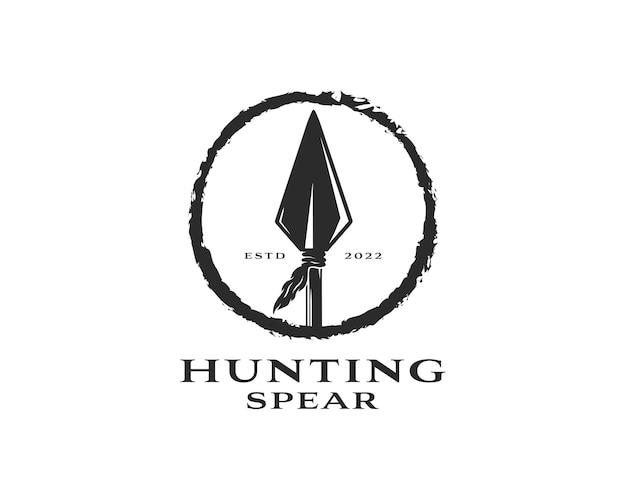 빈티지 소박한 소식통 화살촉 창 사냥 로고 디자인