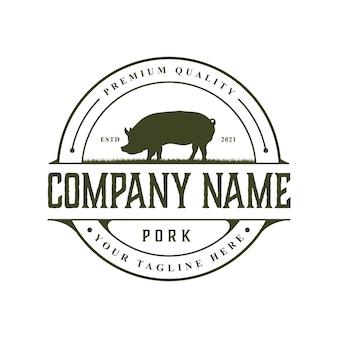 Vintage rustic pork logo design template
