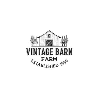 手描きのスタイルでヴィンテージ素朴なレトロな納屋の農場の農業ロゴデザインのインスピレーション