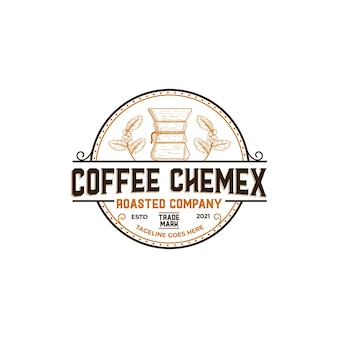 Vintage rustic stamp coffee shop logo with chemex and coffee branch leaf sign