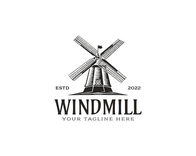 Винтажные деревенские ветряные мельницы логотип векторные иллюстрации хлебобулочные эмблема дизайн на белом фоне