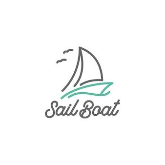 Vintage sail boat line art logo design