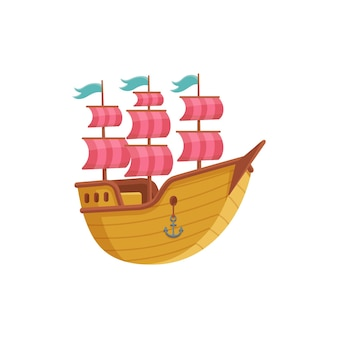 Vintage sailing ship cartoon icon, flat illustration on white