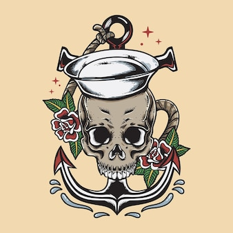 Vintage sailor skull with rose and anchor illustration