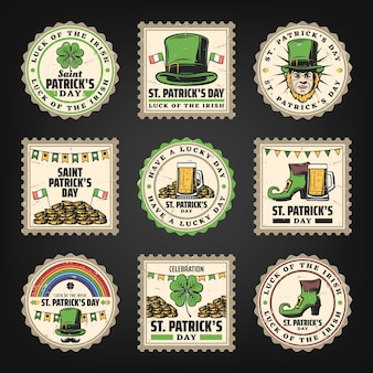 Vintage saint patricks day stamps set