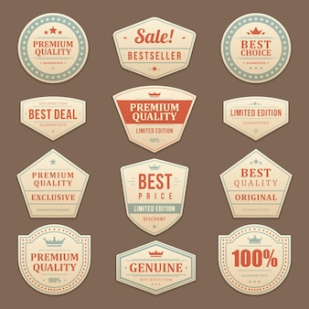 Vintage sale advertising labels and stickers set.