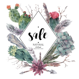 Vintage sale card with branches and succulent
