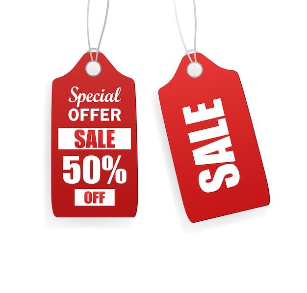 ヴィンテージ販売タグ、どんな目的にも最適。白い背景の赤い販売タグ。空白のラベル。