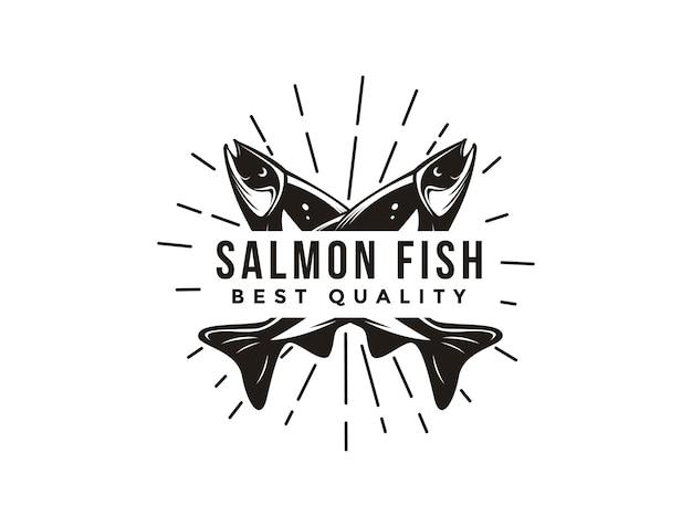 ヴィンテージサーモン魚のロゴアイコンテンプレート