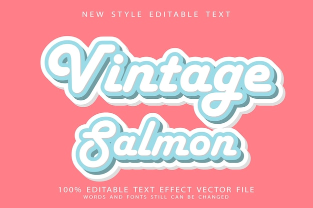 Vintage salmon text effect emboss modern style