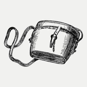 Vintage satchel bag illustration