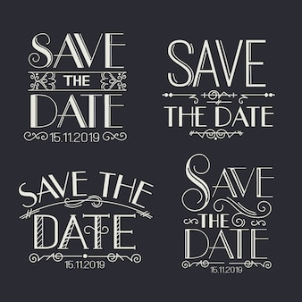 Vintage save the date lettering collection