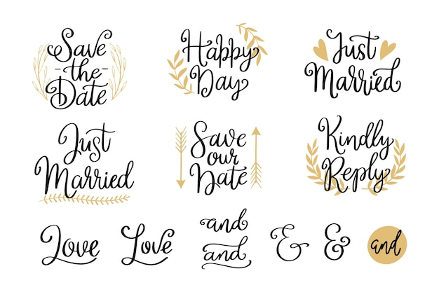 Vintage save the date lettering pack