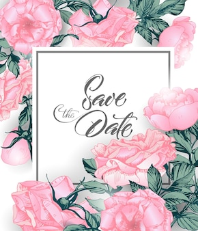 Vintage save the date with roses wedding invitation design hand drawn illustration