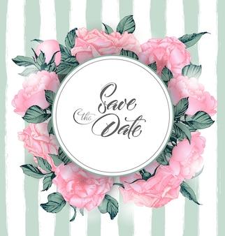 ヴィンテージバラで日付を保存します。結婚式の招待状のデザイン。手描きイラスト。ベクトルテンプレート