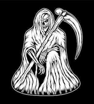 빈티지 무서운 죽음의 신 그림입니다. 프리미엄 벡터