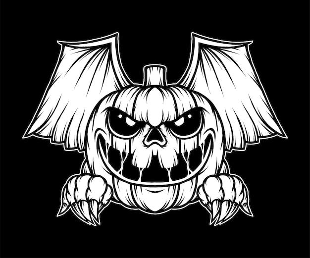 Vintage scary pumpkin halloween illustration. premium vector