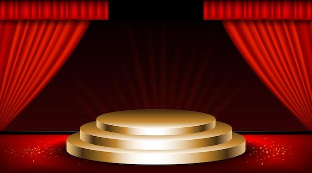 Винтажная сцена с красными занавесками