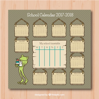 Vintage school calendar with nice frog with books