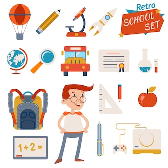 Vintage school icon set graphic designs isolated