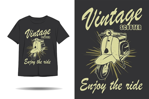 Vintage scooter enjoy the ride silhouette tshirt design
