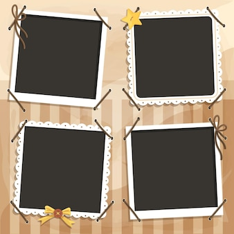 Vintage scrapbook frames copy space