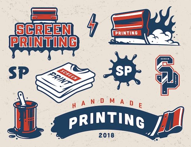 Vintage screen printing badges set