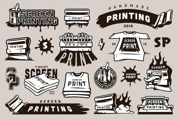 Set di badge per serigrafia vintage